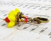 Bright Yellow Bells - vintage style antique brass earrings