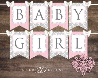 Instant Download Pink Damask Baby Shower Banner, Pink Baby Girl Bunting Banner, Printable Bunting Flags, Baby Girl Pennant Banner 51A