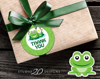 Instant Download Frog Thank You Tags, Green Frog Gift Tags, Green Yellow Gender Neutral Frog Birthday Party or Baby Shower Favor Tags 24B