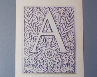Letter A Print /  LETTER Print on Vintage Paper / Home Decor / Art Illustration to Frame / Antique Alphabet Print / Floral / Paper Ephemera