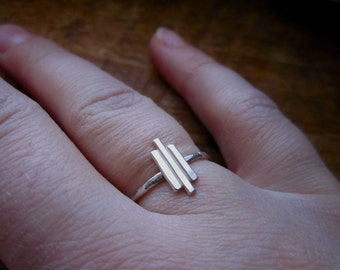 Geometric Hammered Rustic Tribal Symmetrical Sterling Silver Ring Choose  Your Size