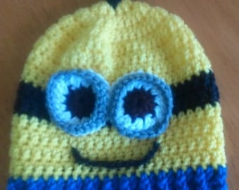 Crocheted Minion hats. Yellow Minion Hat with black band, one or two eyes and bottom blue band. #116