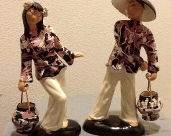 Vintage Hedi Schoop Asian Figurines Pair Rare California Pottery