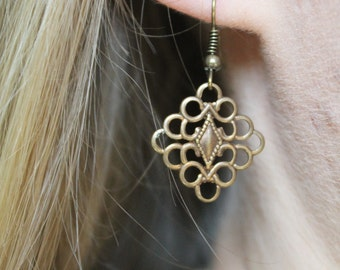 Antiqued Brass Square Earring