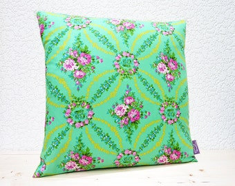 "Handmade 16""x16"" Cotton Cushion Pillow Cover in Emerald Green/Yellow/Pink Floral Design Print"