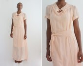 Eva Peron Silk Chiffon Full Length 1930s Nightgown, Antique Long Slip dress / Shell Pink Color  / Unique & Glamourous