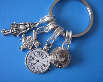 Alice in Wonderland Keyring Clock Rabbit Teacup Saucer Charms