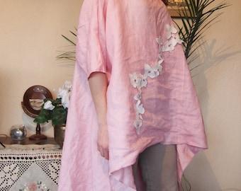 Asymmetric Linen Tunic  Over-Sized Tunic Long Linen Tunic Top Long Blouse & Nara LT017
