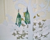 Malachite earrings in the colour green and silver green with malachite beads, beaded earrings,gem earrings,gemstone jewelry, fringe earrings