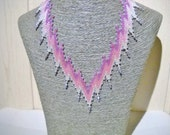 Swarovski necklace in the colours purple, pink and silver with Swarovski crystal, statement necklace, mothers day gift, Bargello pattern