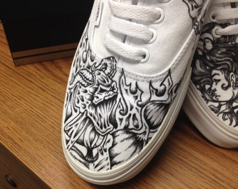 Hand drawn Angel vs. Demon tattoo shoes