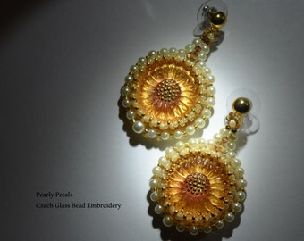 PEARLY PETALS - Czech Glass Bead Embroidered Earrings