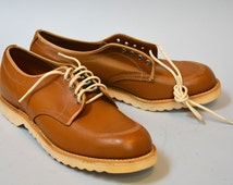 NOS Daoust Ruf-Rider Work Shoes - Deadstock Vintage 50s 60s Tan Leather Steel Toe Work Shoes Size 12 Biltrite Sole
