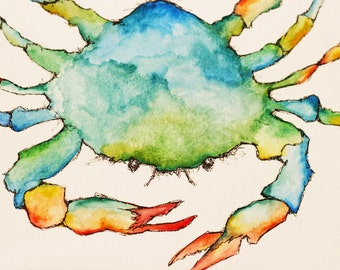 "blue crab. [original watercolor] coastal art. 9"" x 12"". beach decor. blue crab watercolor. crab painting."