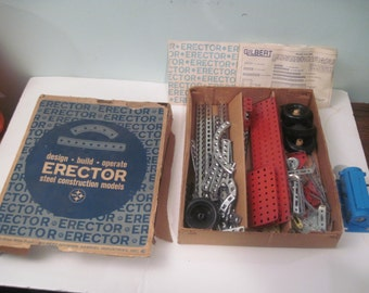 1964 Gilbert Erector Set in Box Directions and many pieces