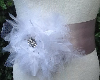 Grey bridal sash, bridal sash, bridal belt, wedding sash, Wedding belt,