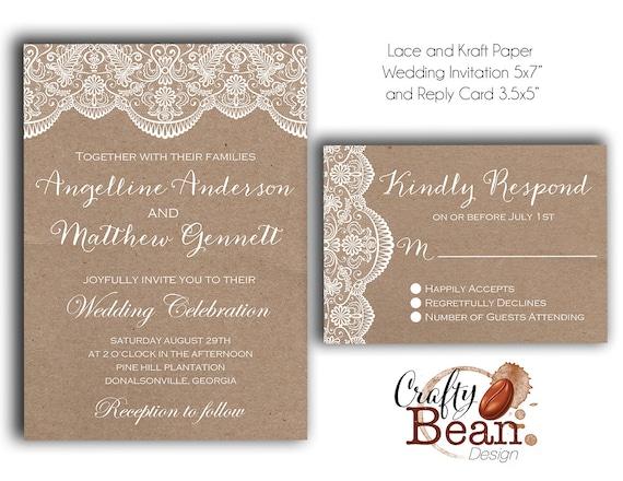 Diy Kraft Paper Wedding Invitations: Items Similar To Custom White Lace And Kraft Paper Rustic