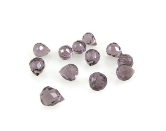 6 Purple Amethyst Faceted Quartz Teardrop Briolettes 11mm x 9mm