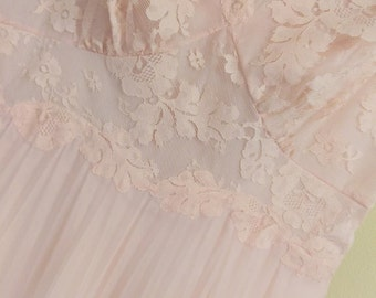NOW DISCOUNTED!Beatuiful Vintage Vanity Fair 1950's Nightgown  Peachy Pink Nylon Chiffon with Lacy Intracate Bodice and Pleated Dreamland