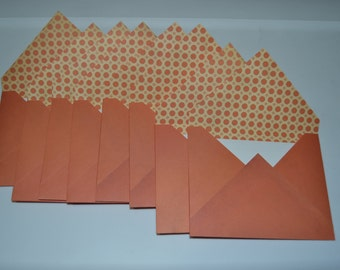 Set of 8 Tangerine Envelopes with White Note Cards