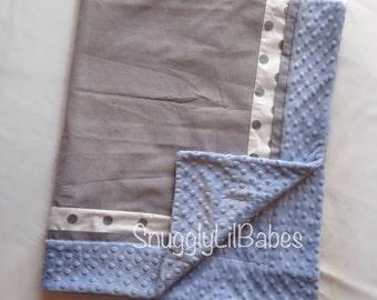 Grey, polka dot, baby blue minky dot baby blanket