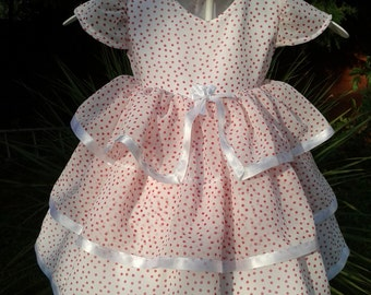 White With Red Spot Three Tiered  Baby Dress. 1 LEFT Size 6 - 9 mths ONLY.