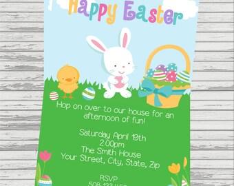 Easter Egg Hunt, Easter DIGITAL Invitation.