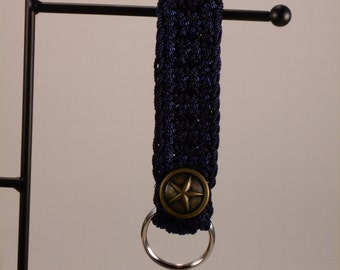 Navy Blue Nylon Crochet Key Chain Key Fob Wristlet
