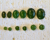 Cabochon Jade Stud Earrings In Sterling Silver - Choose a size!