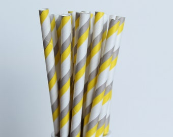 Yellow Grey Striped Paper Straws-Yellow Straws-Gray Straws-Striped Straws-Wedding Straws-Party Straws-Mason Jar Straws-Cake Pop Sticks