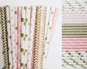 Twinkle Twinkle Little Star Paper Straws, Pink and Gold First Birthday, Unicorn theme party, star baby shower, girl birthday party, princess