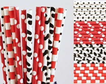 Red and Cow Print Paper Straw Mix-Farm Birthday Party Straws-Polka Dot Straws-Cow Print Straws-Striped Straws-Mason Jar Straws-Red Straws