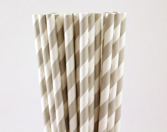 Grey Striped Paper Straws-Grey Straws-Striped Straws-Wedding Straws-Party Straws-Gray Straws-Silver Straws-Mason Jar Straws-Cake Pop Sticks