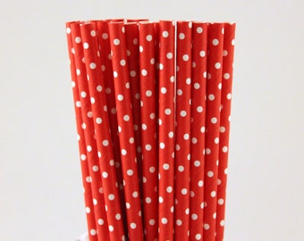 Red with Small White Polka Dot Paper Straws-Red Straws-Polka Dot Straws-Valentines Day Straws-Wedding Straw-Mason Jar Straws-Cake Pop Sticks