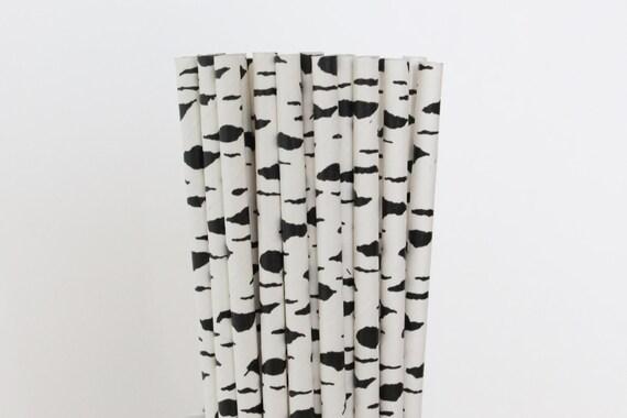 black and white paper straws