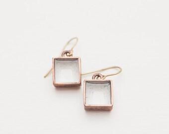 """Handmade copper earrings """"White morenga"""""""