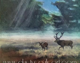 Stag ORIGINAL Painting. Wildlife landscape 'SILENT MIST' (8x8) Acrylic on canvas.