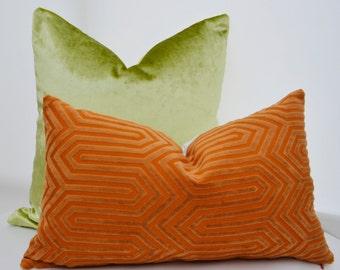 Orange Velvet Pillow Cover,Orange Geometric  Pillow Cover,Geometric Cut Velvet Pillow Cover,Designer Pillow Cover
