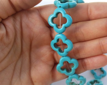 Blue Turquoise Clover Beads, Blue Turquoise Flower Connector Beads, Flower Beads, Clover Charm Beads