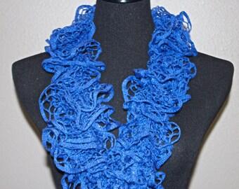 Deep Blue with Hints of Glitter Ruffled Scarf - Premier Yarns Starbella Glam  - Deep Blue