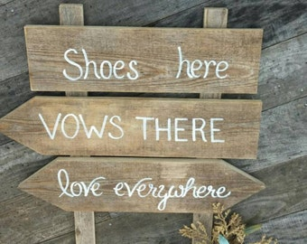 Shoes Here Vows There Beach Wedding Sign