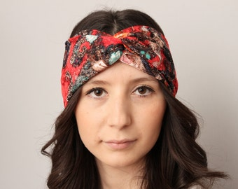 Woman adult headband ,Twisted headband,Turban Headband ,gypsy turban,Head beand,ear warmer , extra wide , striped