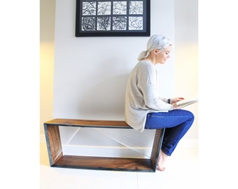 Hall Bench, made from English Walnut, a stunning sculptural contemporary bench