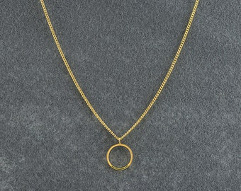 Geometric Gold Circle Necklace, Gold Necklace, Gold Round Necklace, Round Pendant Necklace, Circle Pendant Necklace, Simple Gold Necklace.