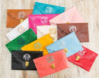 Scalloped Monogrammed Clutch Purse in 13 colors!! CUSTOM LISTING