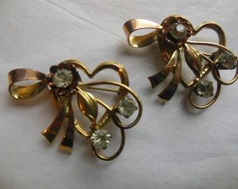 Pair Two 12K GF Gold Rhinestone HEART Brooch PINS Pendants 1940's Signed Iskin
