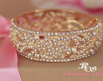 Gold wedding bracelet vintage style rhinestone bracelet crystal bridal bracelet bridesmaid bracelet gold bridal jewelry - style B0138G