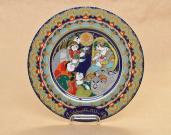 Signed! - Bjorn Wiinblad - Rosenthal Christmas plate - hand signed - 1977 - porcelain wall plate - autographed - Adoration of the Shepherds