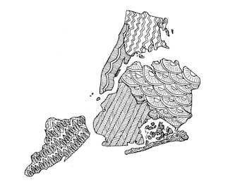"New York City Map, Ink Illustration, 5""x7"" Print"