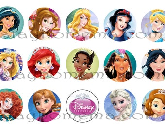 INSTANT DOWNLOAD ALL Princesses One Inch 4x6 Bottle Cap Images Disney Ariel Cinderella Jasmine Belle Snow White Aurora Pochahontas Elsa Anna